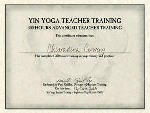Chiaradina Yin Yoga 300 hours certificate
