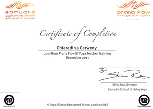 Chiaradina Prana Flow 200 hours certification