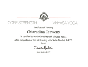 Chiaradina Core Strength Vinyasa Flow formation diploma